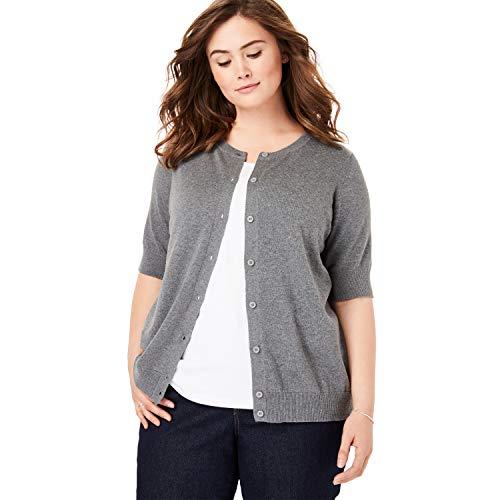 Cardigan Grey Cotton - Woman Within Women's Plus Size Perfect Elbow-Length Sleeve Cardigan - Medium Heather Grey, 3X