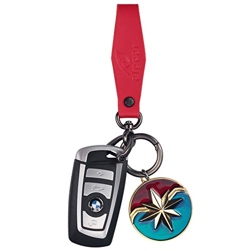 AIGEAR Red Leather Keychain with Circle Push Release, Car Keyring for Men & Women, Black Chrome Plated, Included Pendant of Super Heroes (AG616)