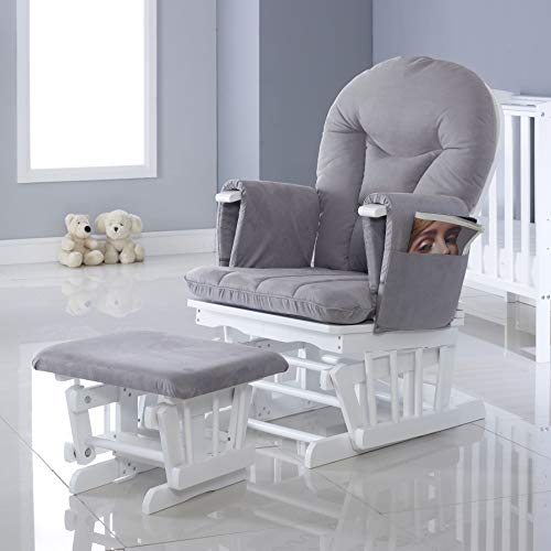 Ickle Bubba Alford Nursing Zwangerschaps zweefstoel met 7 ligposities en kruk – wit grijs