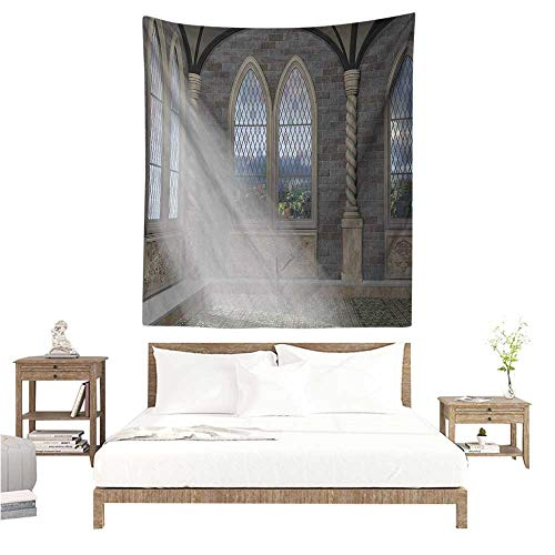 WilliamsDecor Hall Tapestry Fantasy Crepuscular Rays Streaming Through Stained Glass Window Ancient Palace Castle 60W x 80L INCH Suitable for Bedroom Living Room Dormitory
