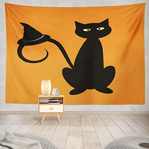 Happyome Autumn Clipart Tapestry, Wall Hanging Tapestry Black Halloween Cat with Witch Hat Angry Animal Art Autumn Wall Tapestry Dorm Home Decor Bedroom Living Room in 80WX60L]()