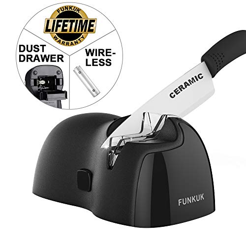 Portable electric knife sharpener, wireless kitchen knife sharpener for CERAMIC knife by FUNKUK