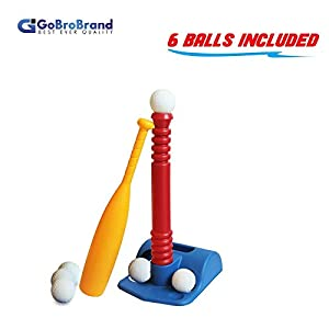 T-Ball Set For Toddlers, Kids, - Baseball Tee Game Includes 1 Bat, 6 Balls, Adjustable