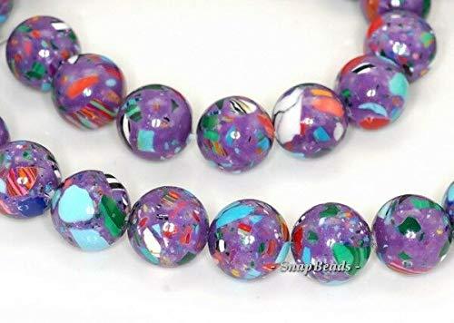 - 10MM Matrix Turquoise Gemstone Purple Mosaic Round 10MM Loose Beads 7