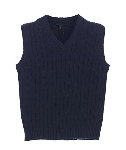 Gioberti Boy's V-Neck Cable Knit Sweater Vest, Navy, Size 7 by Gioberti