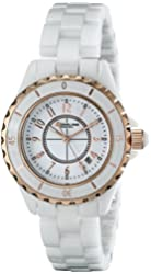 Stuhrling Original Women's 530.114EW3 Fusion Rose Gold-Layered White Ceramic Watch