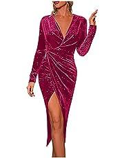 PATOPO Party Evening Dress for Women Sexy V Neck Asymmetrical Slit Elegant Wedding Guest Long Dress Solid Bodycon Wrap Dress