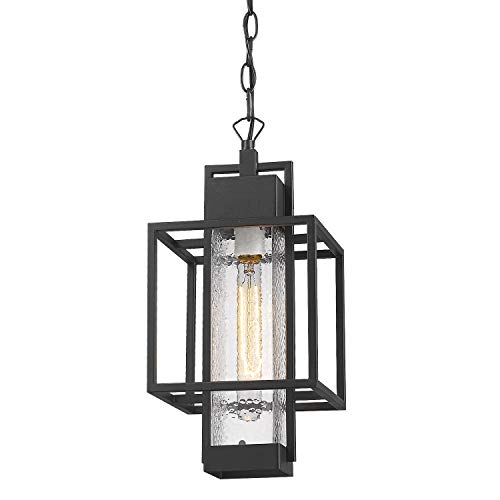 Osimir Outdoor Pendant Light Fixture, 1 Light Exterior Hanging Lantern Porch Light, 14