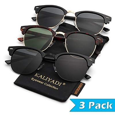 Mens Polarized Sunglasses for Women Semi Rimless Frame Driving Sun glasses?100% UV Blocking