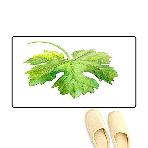Bath Mats for Floors Grape Leaf of Vine Watercolor ()