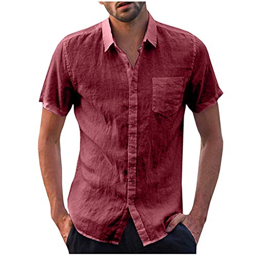 Men's Hippie Shirts Short Sleeve Soft Linen Solid Button Summer Beach Casual Tees Tops by URIBAKE Red