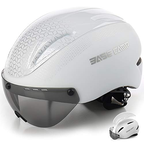 BASE CAMP Cycling Bike Helmet with Removable Shield Visor - Adjustable Adult M Size 21.75-23.5 Inches