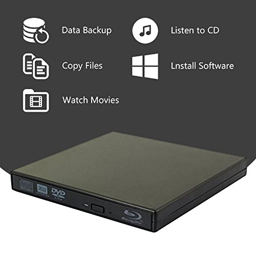 External blu-ray disc drive, USB portable DVD burner,BD-ROM,DVD/CD-RW/ROM Writer/Player,Support xp/win/Linux system related desktop, notebook, etc (black) by tengertang (Image #1)'