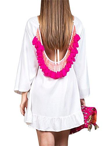 BerryGo Backless Mini Women's White Tassel Casual Summer Dress Ruffle Boho Chiffon tqtwrxAOT
