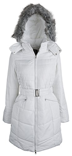 Details women's Warm Winter Parka Puffer Coat with Quilting and Removable Hood - Winter White (Size Medium)