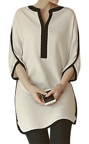 US&R Women's Panelled 2 Color Crop Sleeve Round Hem V Neck Maternity Shift Top, Multi 8 ,Manufacturer(XL)