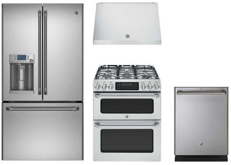 """GE Cafe Stainless Steel Kitchen With CFE28TSHSS 36"""" Refriger"""