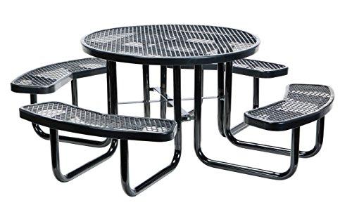 Vestil PT-MX-RT-46-BK Metal Round Picnic Table, 81-1/4