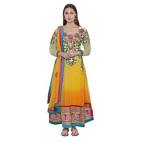 PinkShink Yellow Long Net Anarkali Kurta Churidar Dupatta Set su27 (M)