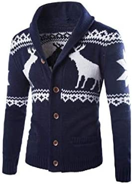 GodeyesW Mens Comfy With Pocket Contrast Color Patterned Christmas Cardigan Sweater