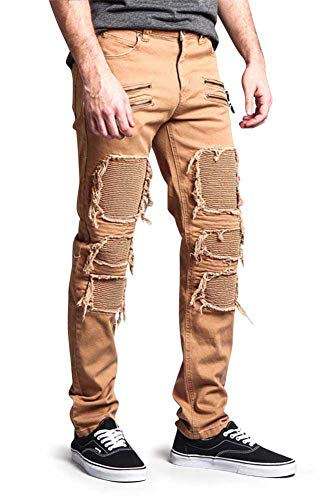 Victorious G-Style USA Men's Torn Open with Revealing Ribbed Underlayer Biker Style High Fashion Skinny Jeans DL1019 - Wheat - 30/30 - II1E by Victorious