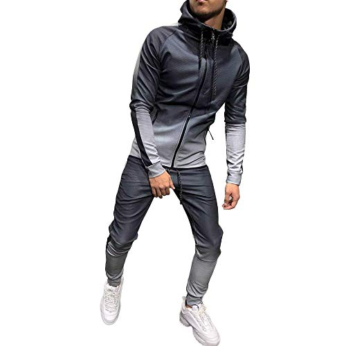 WOCACHI Final Clear Out Mens Tracksuit Patchwork Gradient Sweatshirt 2PC Sets Fit Sports Suits Black Friday Cyber Monday Winter Gym Fitness Zipper Slim Bottoming Shirts Blouses Jumper Tops - Fab Designer Dog
