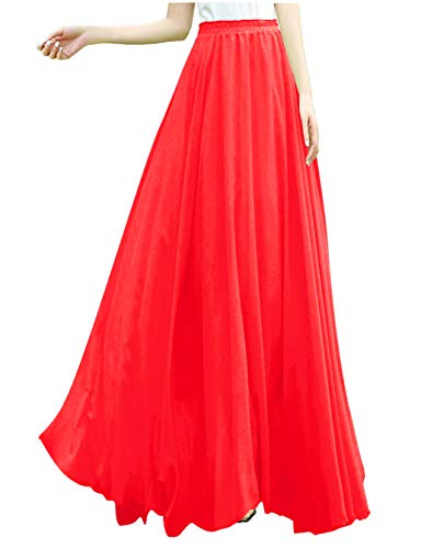 v28 Women Full/Ankle Length Elastic Retro Maxi Chiffon Long Skirt (M,Red)