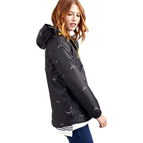 Joules Women's Golightly Short Waterproof Packaway Rain Jacket, Black Bees, ()