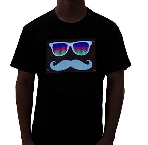 Rave Raptor Sound Activated Shirt EDM Mustache LED Shirt Light up T-Shirt