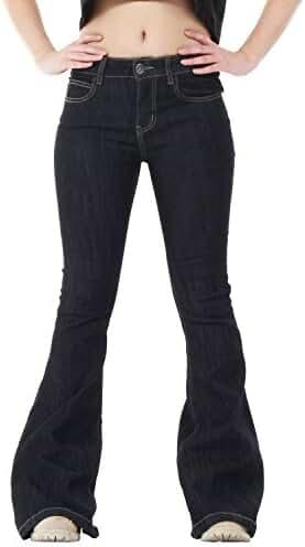 60s 70s Dark Blue Indigo Denim Flares Bell Bottoms Wide Flared Jeans