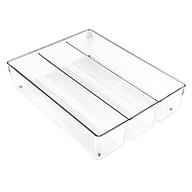 InterDesign Linus Kitchen Drawer Organizer for Silverware, Spatulas, Gadgets - 13.8  x 10.5  x 3 , Clear
