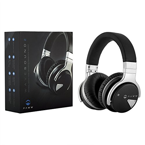 Price comparison product image Paww Over Ear Headphones - Paww WaveSound 2 - Active Noise Cancelling Bluetooth Headphones with Custom Carry Case - Black