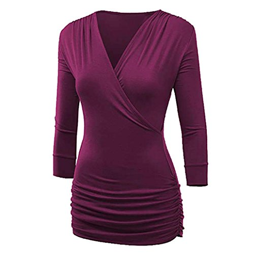 Courtes Vif DAYLIN Dcontract Chemisier Rose Col V Top Solid Femme Manches OvOqx0Z