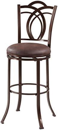 Linon Coffee Brown Metal Swivel 30″ Bar Stool
