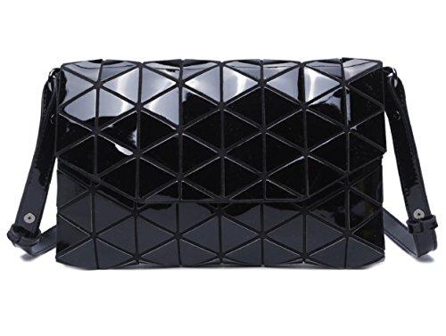 Luminous Flap Bag Envelop Women's Purse Shoulder body with Black Plaid Glossy Satchel Cross Geometric Fashion 5awqa4f