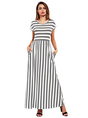 Dress with Pockets Striped Waist 4 Women's Elastic Long Milumia Multicolor Casual Sleeve Maxi v88q4w