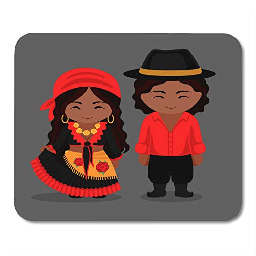 Boszina Mouse Pads Black Gypsies in Traditional Costume Romany Man and Woman Boy and Girl Cute Cartoon Characters Flat Mouse Pad for notebooks,Desktop Computers mats 9.5