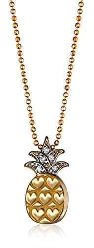 "Alex Woo ""Little Vegas"" Diamond and 14k Yellow Gold Pineapple Pendant Necklace"