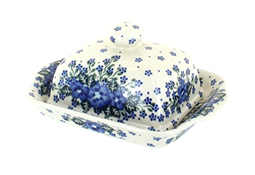Blue Rose Polish Pottery Melanie Butter Dish (Blue Rose Pottery Butter Dish)