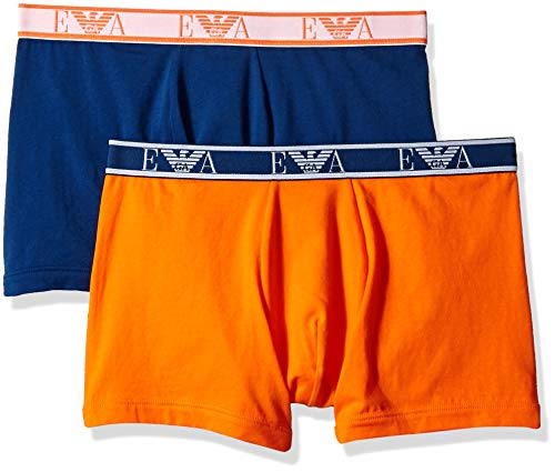 - Emporio Armani Men's Monogram 2-Pack Boxer Brief, Blue/Orange Medium