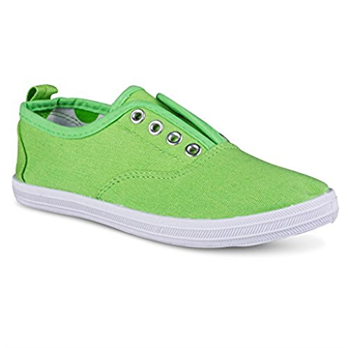 [G103-GREEN-T5] Girls Canvas Sneakers - Green Slip On Casual Shoes, Eyelet Details, Toddler Size 5