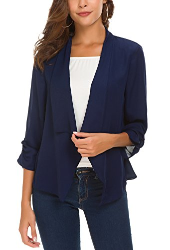 Women's Ruched Sleeve Lightweight Thin Chiffon Blazer (L, Navy Blue)