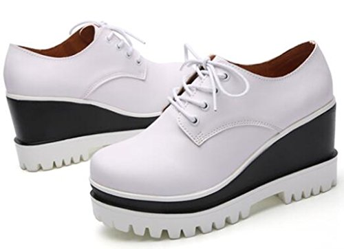 DADAWEN Women's Fashion Lace-up Platform Casual Square-Toe Oxford Shoes White US Size 5 by DADAWEN (Image #3)