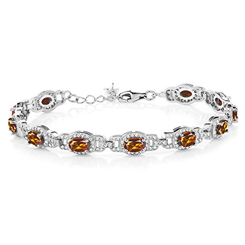- Gem Stone King 8.00 Ct Oval Orange Red Madeira Citrine 925 Sterling Silver 7 Inch Bracelet With 1 Inch Extender