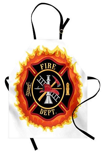Lunarable Fireman Apron, Fire Department with Ladder Public