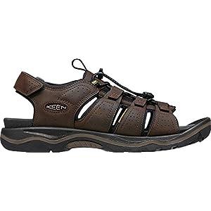 KEEN Men's Rialto Open Toe Sandal, Dark Earth/Black, 10 M US