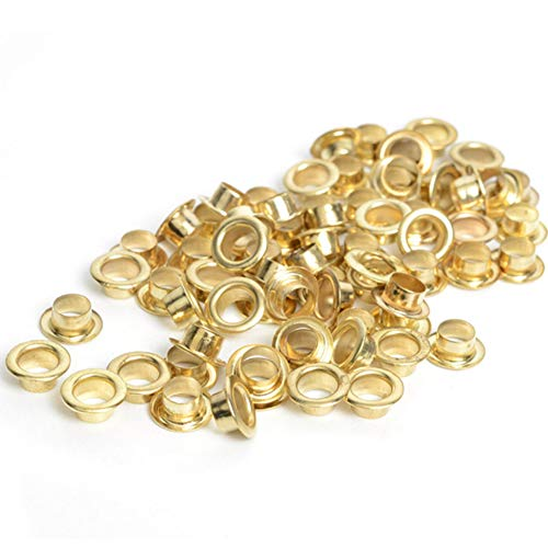 RuiLing 100pcs 4mm Gold Metal Eyelets Round Inner Hole Grommets DIY Rivet Leathercraft Accessories Air-Hole for Shoes Belt Bag Tag Clothes Scrapbook
