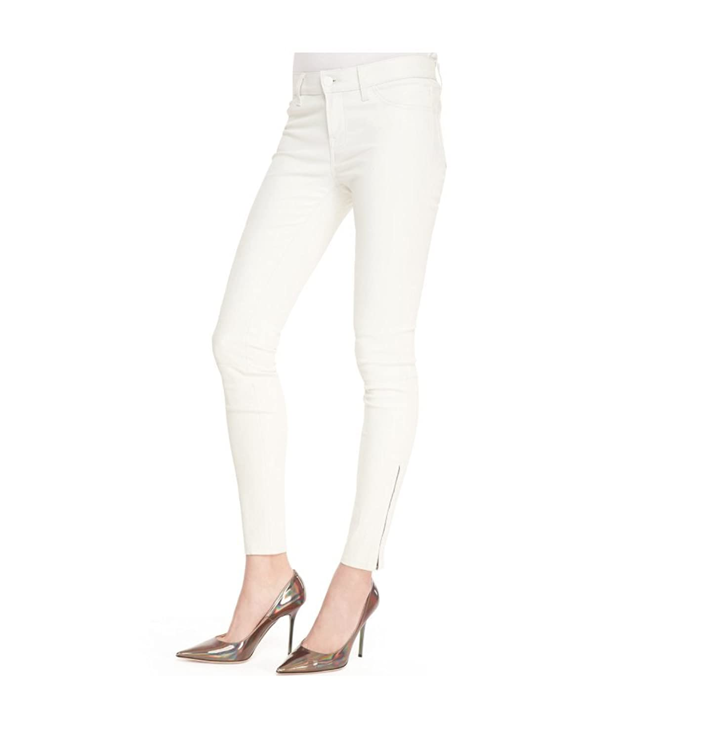 White Ankle Zip Leather Skinny Jeans (27)