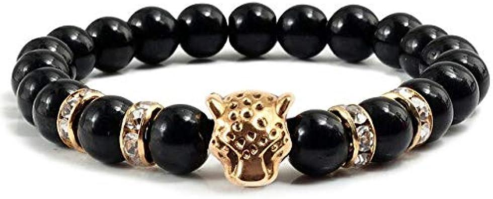 DJMJHG Brazaletes de Moda para Hombre con Cabeza de Pantera Dorada, brazaletes para Mujer, Pulsera de Buda con Diamantes de imitación de Equilibrio, Regalo de joyería con Encanto