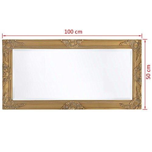 BLXCOMUS Wall Mirror Baroque Style 39.4''x19.7'' Gold mirror With four mounting hooks by BLXCOMUS (Image #6)
